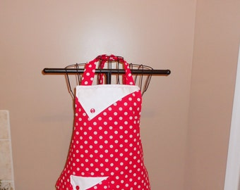 Red and White Polka Dot Apron
