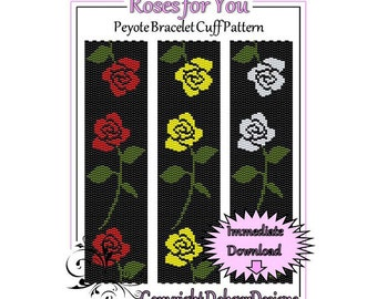 Bead Pattern Peyote(Bracelet Cuff)-Roses for You