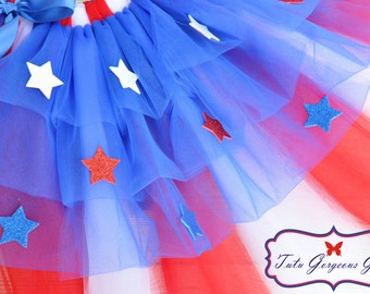 Toddler Red White Blue Bustle Tutu...4th of July, Patriotic Halloween Costume...Sizes 6 Months to 4T . . . STARS AND STRIPES