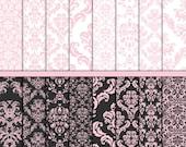 Pink Damask digital paper Wedding paper Wedding digital paper Pink white grey Damask craft paper Commercial Card making Scrapbook paper