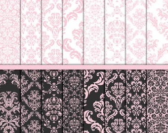Pink Damask digital paper Wedding paper Wedding digital paper Pink white  Damask craft paper Commercial Card making Scrapbook