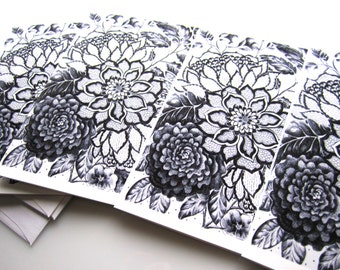 """Black and White Floral Cards - """"Black Lace"""" Ink Drawing Printed Art Cards - Floral Stationery 4x5"""""""
