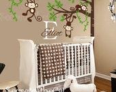 Nursery Wall Decal - Wall Decals Nursery - Corner Tree Vinyl Wall Decal - Tree Wall Decal - Monogram - Tree and monkeys