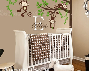 Nursery Wall Decal - Wall Decal Nursery - Corner Tree with Monkies - Tree with Name