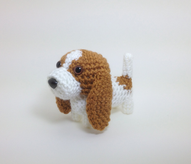 Crochet Doll Animals : Basset Hound Crochet Dog Stuffed Animal Puppy Handmade
