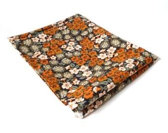 Vintage Dekoplus Cotton Remnant ... Orange Flowers, Yardage, Fabric, 1-1/2 Yards, Textile, Orange and White, Pansies, Baumwolle