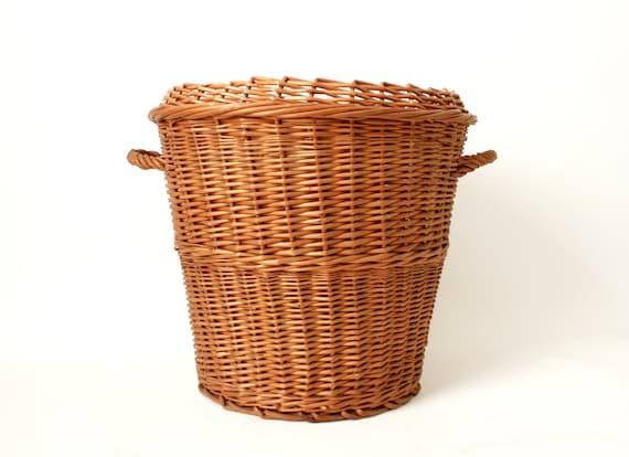 Vintage Round Wicker Hamper ... Basket Toy Storage Laundry