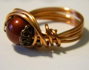 Pearl Ring Swarovski Pearl Copper Wire Wrapped