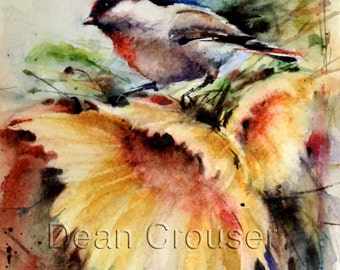 CHICKADEE & SUNFLOWER Watercolor Painting by Dean Crouser