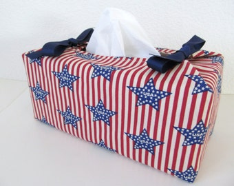 Tissue Box Cover/Star On Stripe x Blue Ribbon