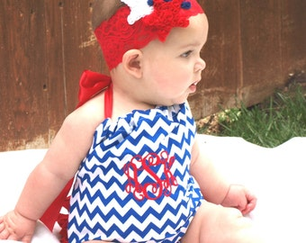 Monogrammed Blue White Chevron Red Romper Sun Suit Summer Beach Ruffles Bottom Sunsuit 0-3, 3-6, 6-12, 12-18, 18-24 Months 2T 3T 4T