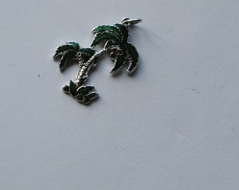Sterling Silver Green enamel Palm Tree charm, vintage, tropical jewelry