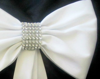 Pew Bows with Rhinestones, Set of 4 Pew Bows, Elegant Pew Bows, Fabric and Rhinestone Pew Bows,  Tailored Fabric Pew Bows