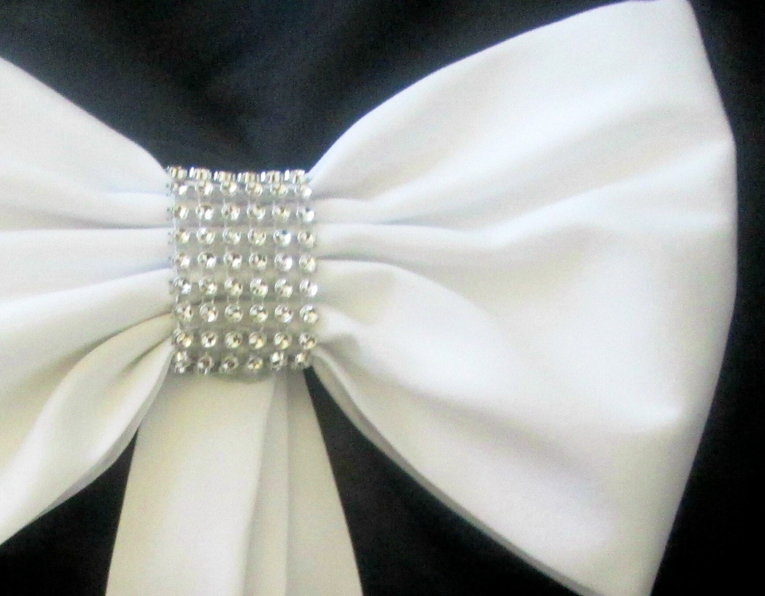 Pew bows with rhinestones set of 4 pew bows elegant pew - Bow decorations for weddings ...