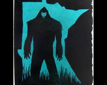 MN Bigfoot Woodcut Art Print. bright BLUE