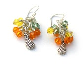 Pineapple Earrings Swarovski Crystal Sterling Silver