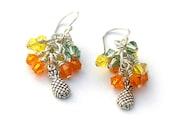 Pineapple Earrings Swarovski Crystal Sterling Silver