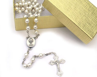 First Communion Catholic Rosary White Pearl Beads