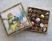 Miniature Box of Chocolates - 1:12th Scale Polymer Clay Easter Chick - TheSweetBaker