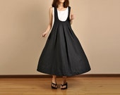 Romantic Linen Long Maxi Dress - Black- Women Dress (R)