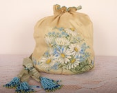 Antique 1915 Purse / Silk Floral Beaded  Bag / Downton Abbey - ladyscarletts