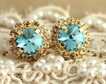 Aquamarine Light blue Stud earrings, Swarovski earrings aquamarine Crystal studs, 14 k plated gold post earrings real swarovski rhinestones.