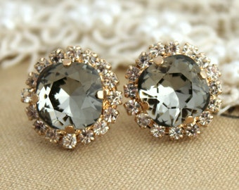 Gray Stud Earrings,Swarovski Black diamond Earrings,Smoky Gray Crystal Rhinestone stud earring,Stud Earrings,Bridesmaids gift,Gray Earrings