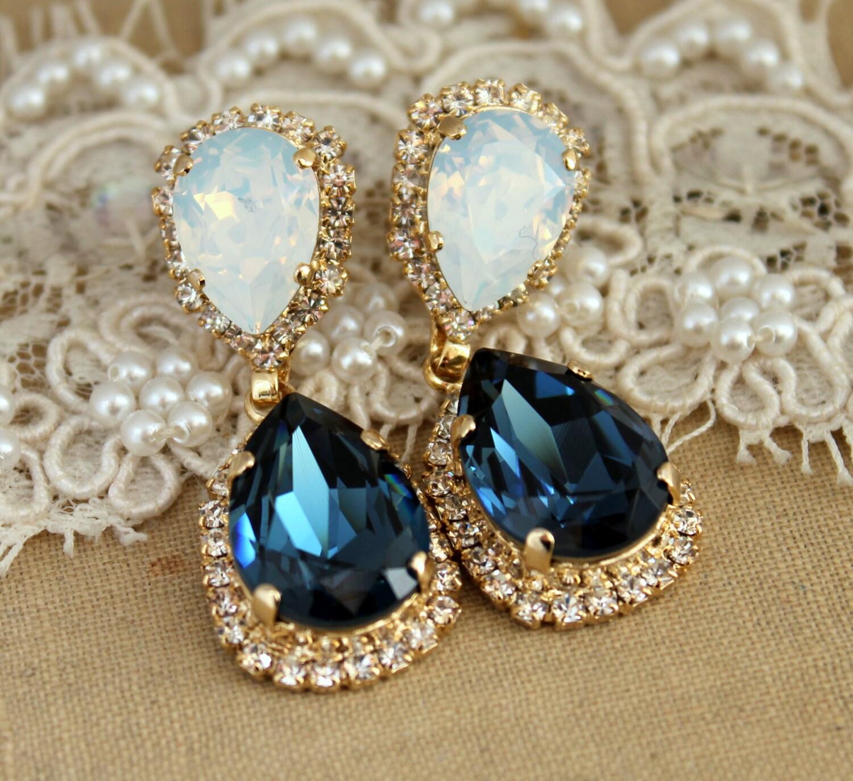 Blue Navy White Opal Chandelier Earring Swarovski Chandelier