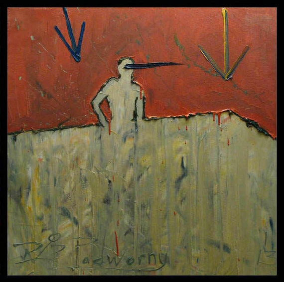 SOLD - Oil Paint on Canvas  / Art Thick Oil Paintings Picture Kunst Outsider Large Pop Weird Unique Crazy Folk