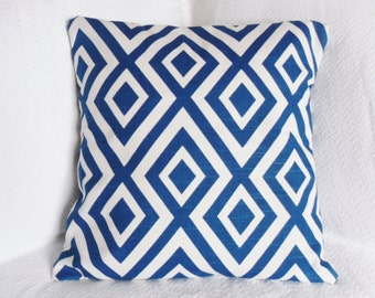 Navy Blue and White Diamond Ikat Graphic Pillow Cover 18x18