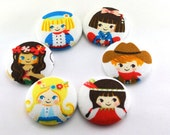 Small World  / Fabric Button  / Strong Large Magnets / Fabric Covered Large It's a Small World / Children / Cultures / 87