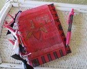 Upcycled Vintage Book Cover Address Book in Red With Winged Heart