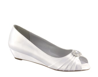 Wedding Shoes - Custom Colors 120 - Women's PBD101 Bridal Wedge Shoes