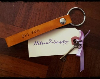 Personalized customised (100% Veg Tanned) Leather Keychain