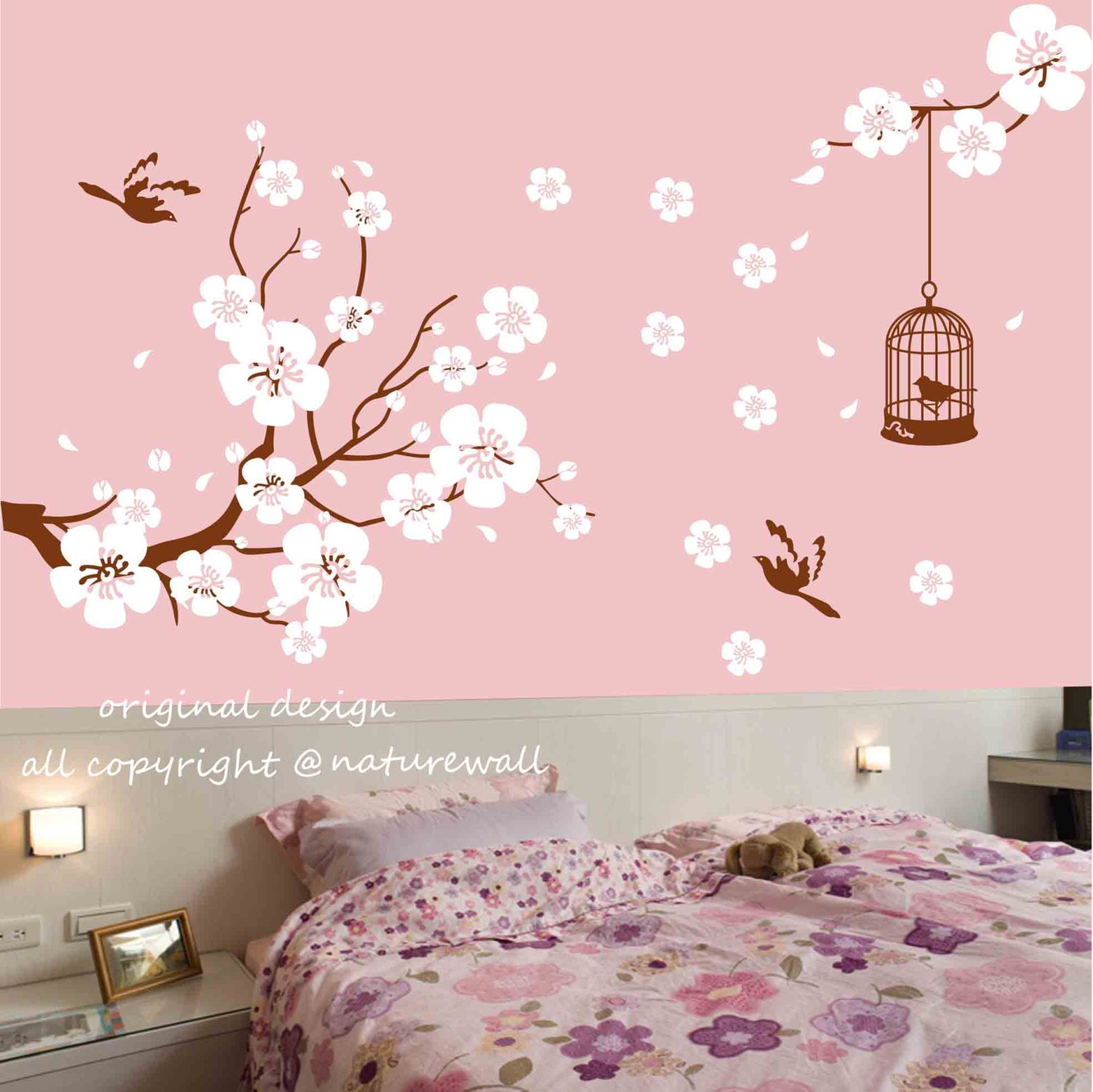 Nursery wall stickers cherry blossom decals floral by for Design wall mural