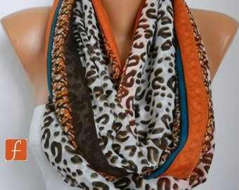 Burnt Orange & Brown Leopard Print Infinity Scarf,Bohemian,Shawl Cotton Circle, Loop Gift For Her Women Fashion Accessory Mother's Day Gift