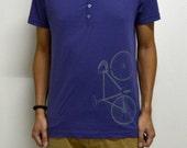 Men cotton purple with buttons vintage fixie t shirt Medium Unisex