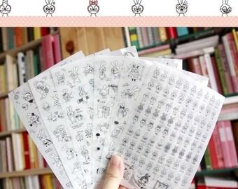 6 Sheets Korea Pretty Sticker Set - Deco Translucent Sticker Set - Glasses rabbit