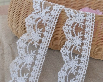 White Embroidery Lace Trim Lace Cotton Embroidery  1Yard 7cm Wide