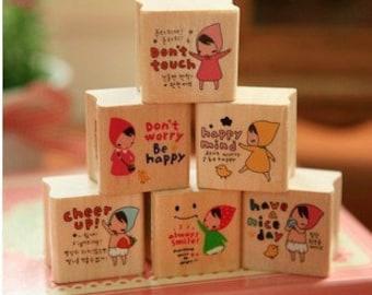 6 Pcs Korea DIY Wood Rubber Stamp