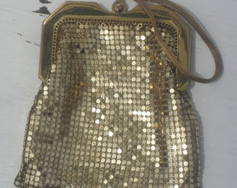 Antique WHITING and DAVIS ---Gold Mesh --Evening Pouch ---Small ---Sweet