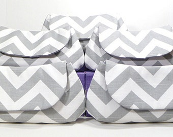 Bridesmaid Clutches Wedding Clutch Bridal Party Gifts - Choose Your Fabric Gray Set of 6