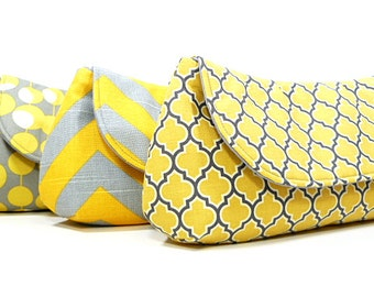 Bridesmaid Clutches Wedding Clutch Bridesmaids Gifts Purses Choose Your Fabric Gray Yellow Set of 4