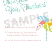 Printable Thumbprint Guestbook Instructions - Pinwheel Party - Featured on Hostess with the Mostess