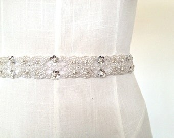 "Beaded Bridal Sash, Bridal crystal sash, wedding sash, Art Deco sash, beaded Wedding Belt, 1"" inch wide bridal belt - SASHA"