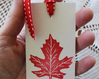 The Maple Leaf Tag - Handstamped Set of Eight from original hand carved stamp