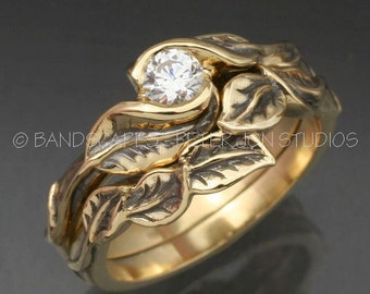 14k and MOISSANITE Delicate Leaf WEDDING RINGS -Choice of Yellow, Rose, or White Gold - Twig and Leaf Engagement Ring, matching Wedding Band