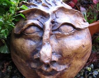Kitchen Garden Fairy totem mask indoor outdoor sculpture ceramic clay