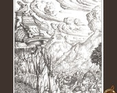 Black and White fantasy landscape illustration of a mountain city and observatory