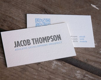 Custom DIY letterpress printed business cards, or calling cards (1 color ), set of 100 or 200. eco friendly